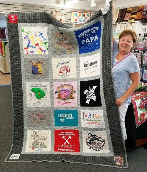 Marcia with t-shirt quilt