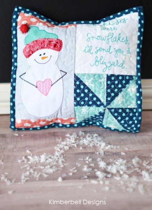 kisses snowflakes pillow