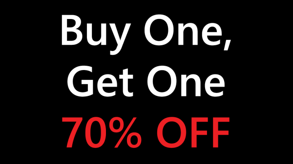 buy one, get one 70% off