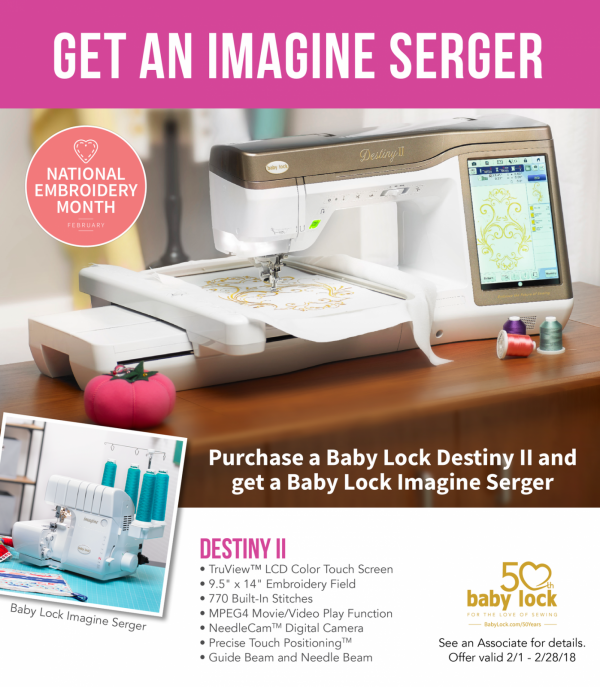 free Imagine serger with Destiny purchase