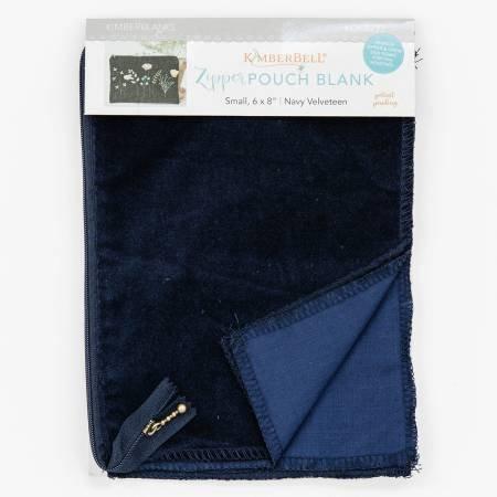 Navy Velveteen Zipper Pouch Blank Small
