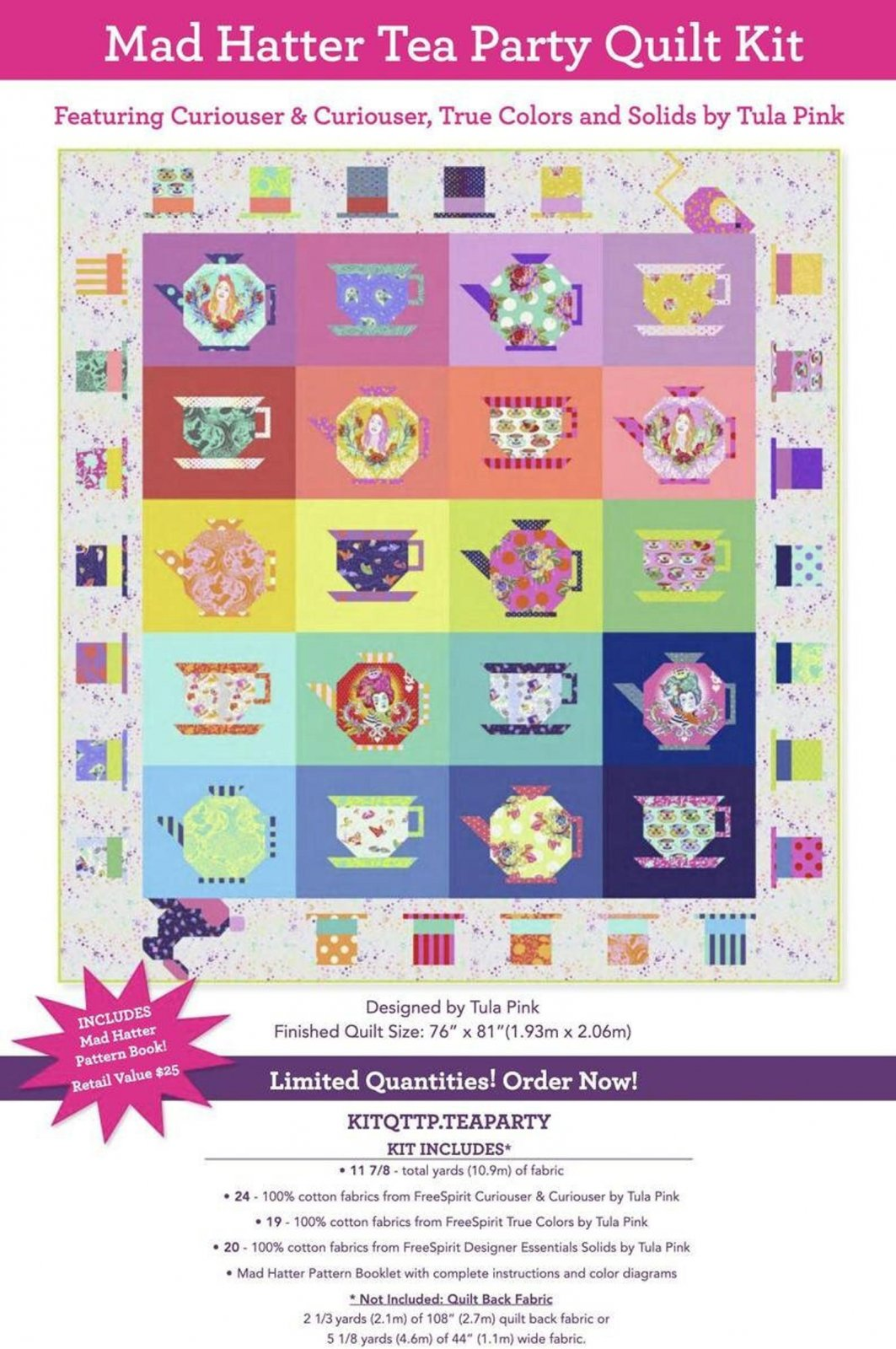 Mad Hatter Tea Party Quilt Kit (featuring Tula Pink Curiouser & Curiouser, True Colors, and Solids)