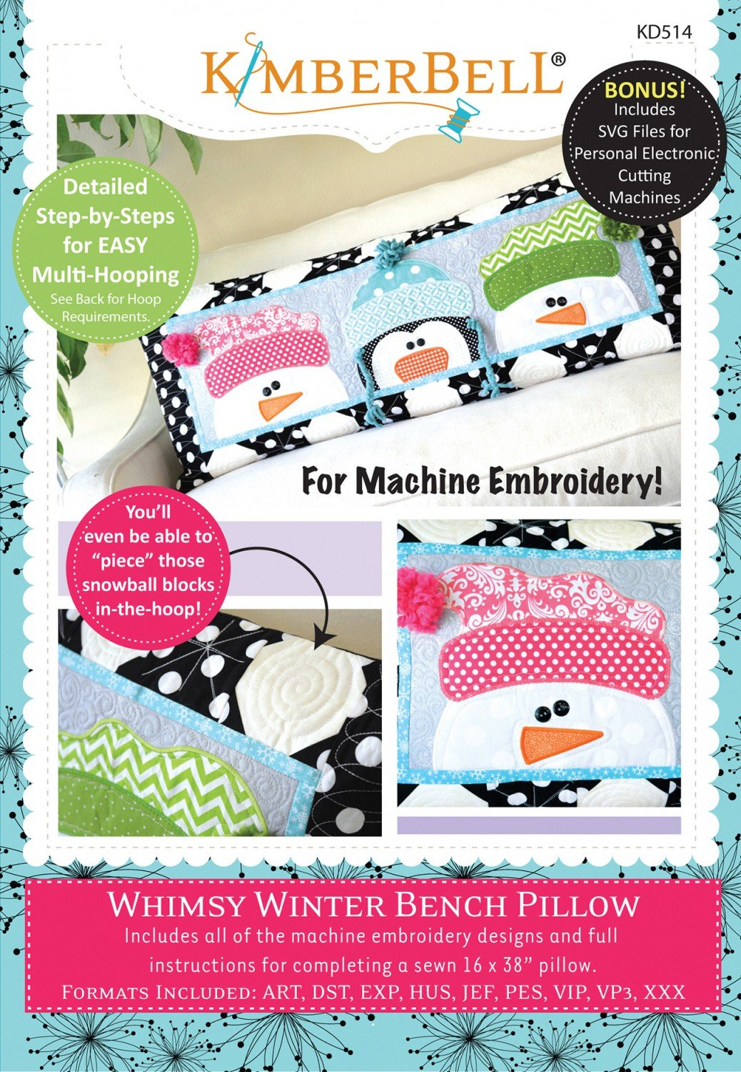 Whimsy Winter Bench Pillow (Machine Embroidery CD)