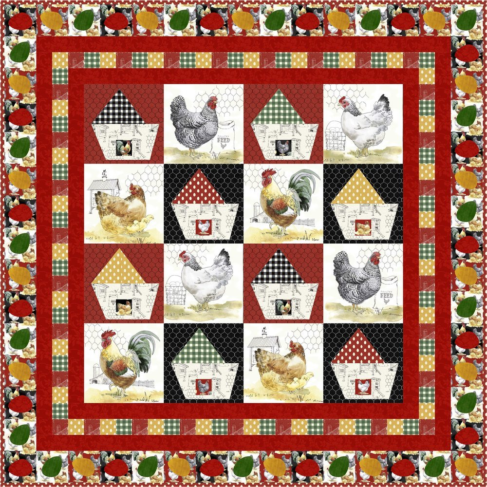 All Cooped Up Quilt Kit- Red Border