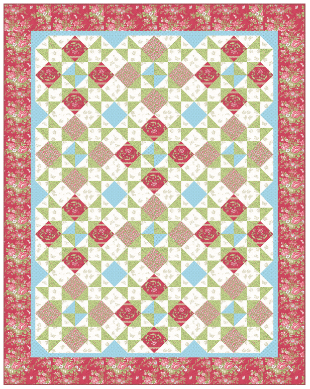Arbor Rose Quilt Kit (Blue/Rose) featuring Bed fo Roses from Laundry Basket Quilts(Blue/Rose)