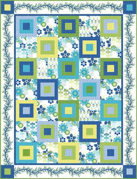 Bloom Modern Quilt Kit- Blue