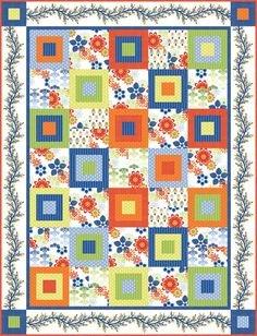 Bloom Modern Quilt Kit- Orange