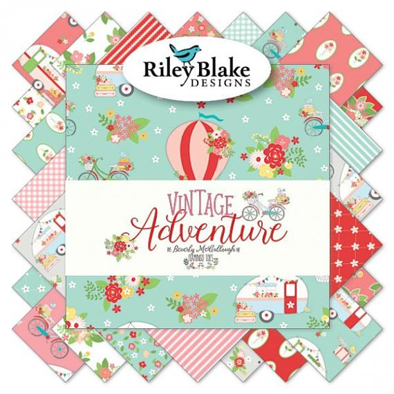 Square Dance Quilt Kit featuring Vintage Adventure from Riley Blake