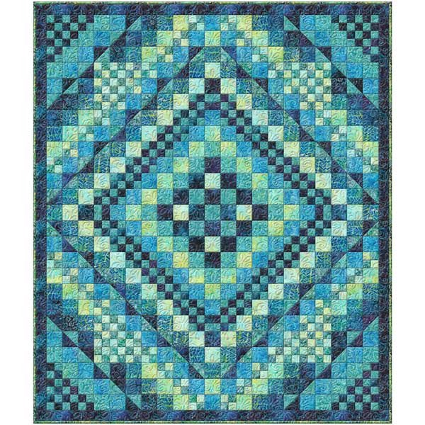 Day Tripper Quilt Kit featuring Wilmington Batiks - Teal