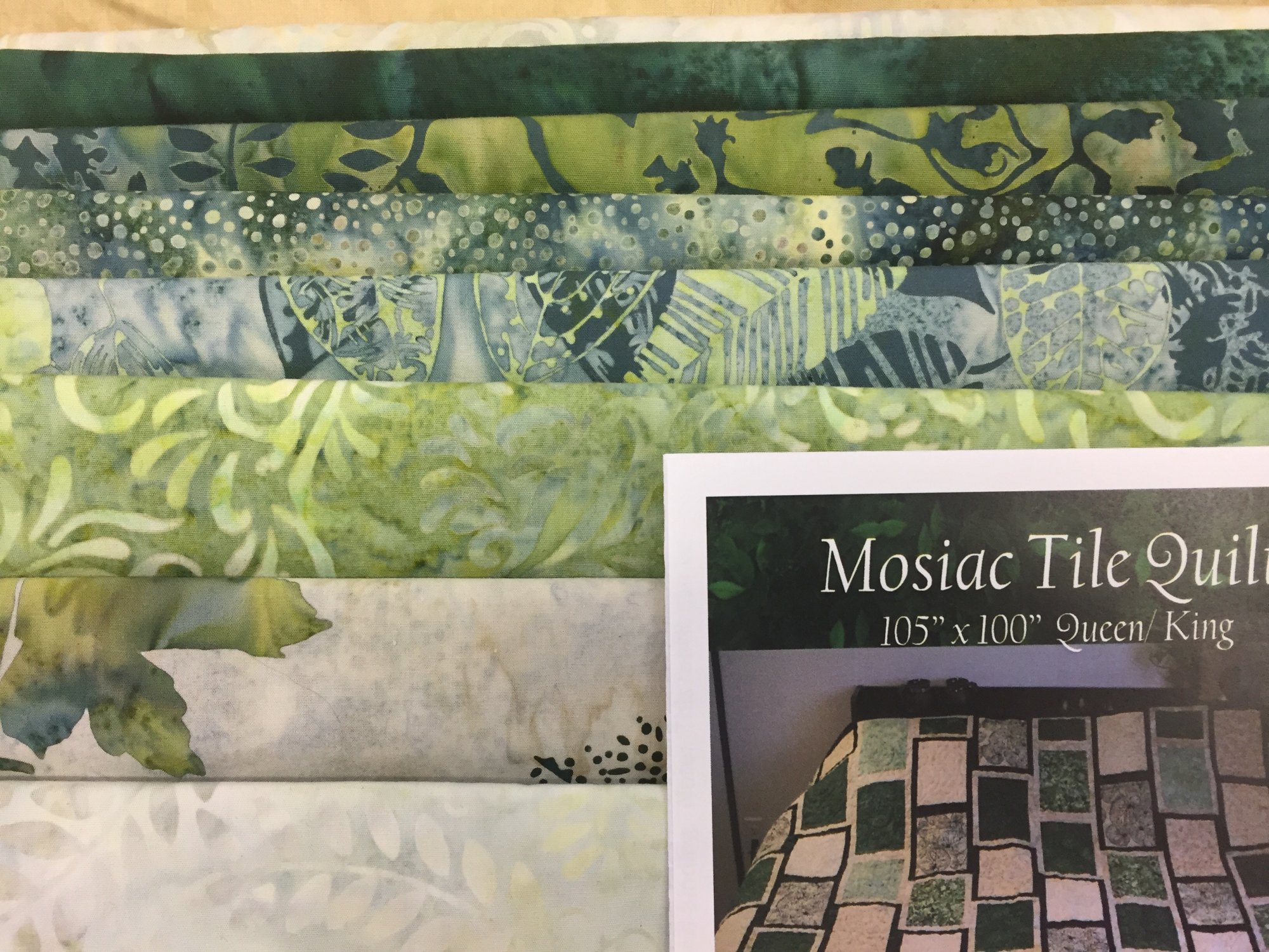 Mosaic Tile Quilt Kit- Green Batiks