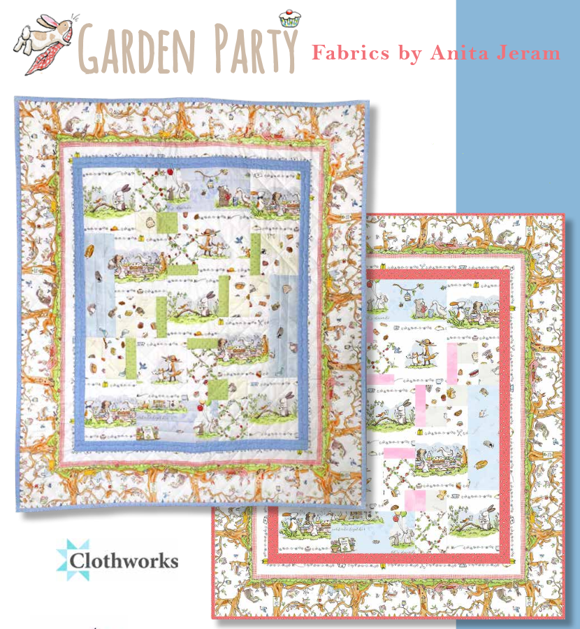 Garden Party Wall/Baby Quilt Kit (Blue)