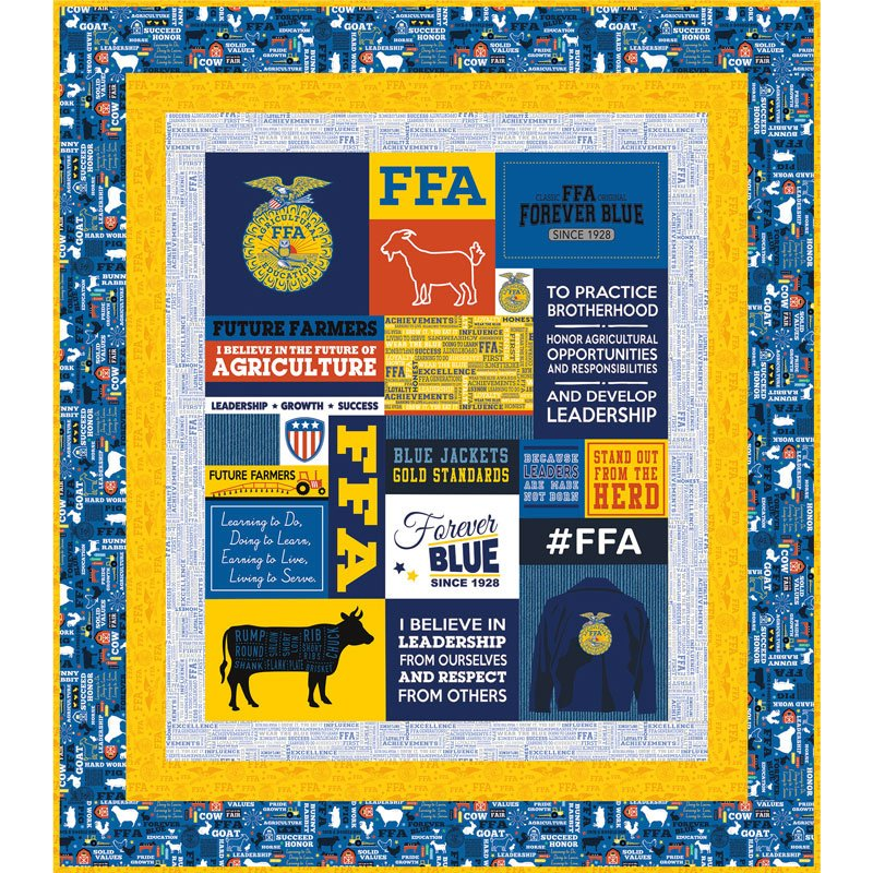 FFA Forever Quilt Kit featuring FFA Forever Blue from Riley Blake Designs