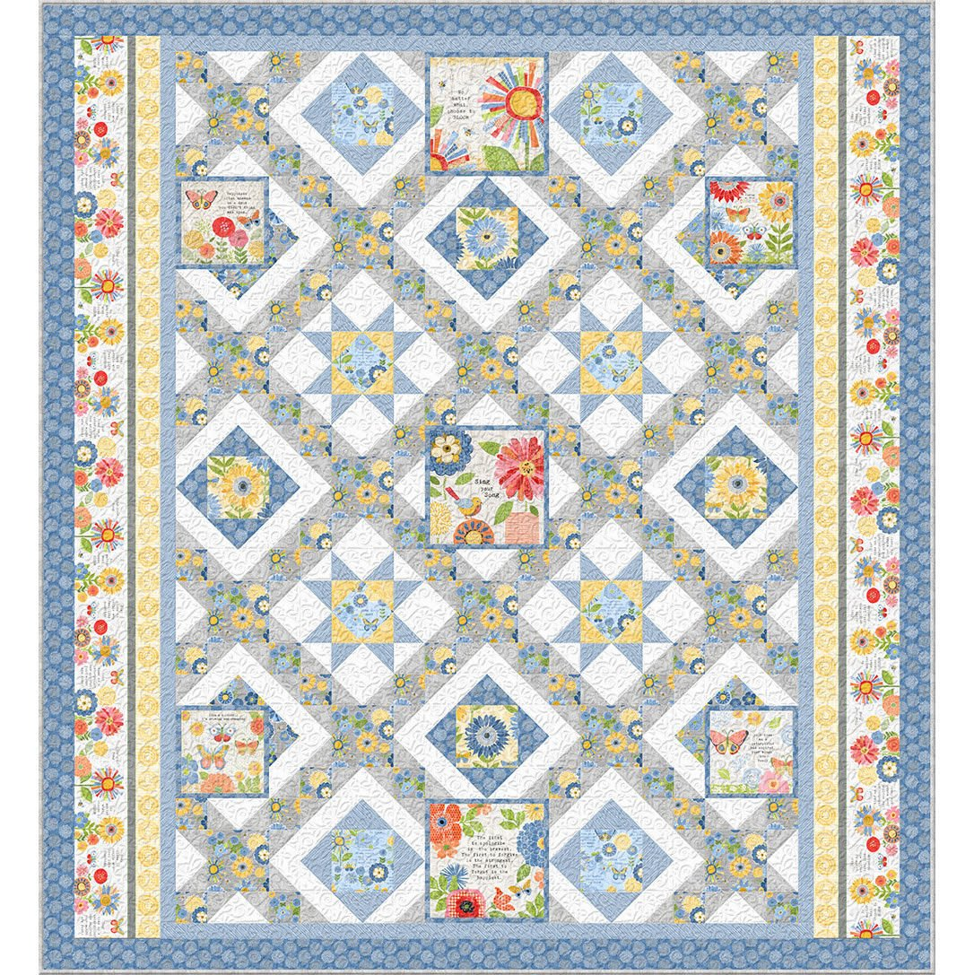 Sing Your Song Quilt Kit (Blue)