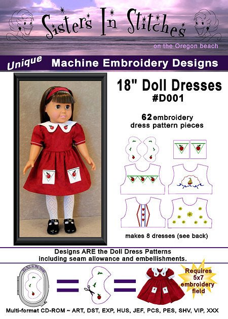 Sisters In Stitches 18 Doll Dress Embroidery Designs