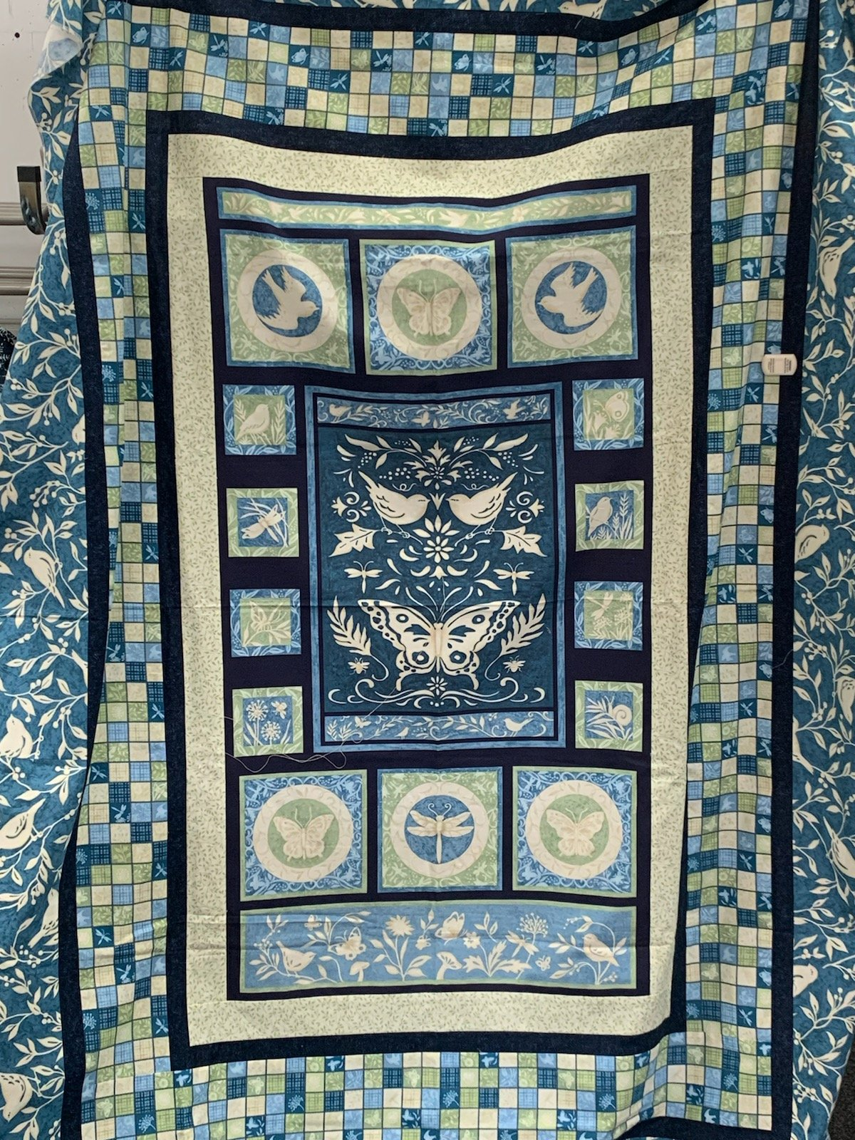 Blue Panel Quilt Top 52 x 68 inches