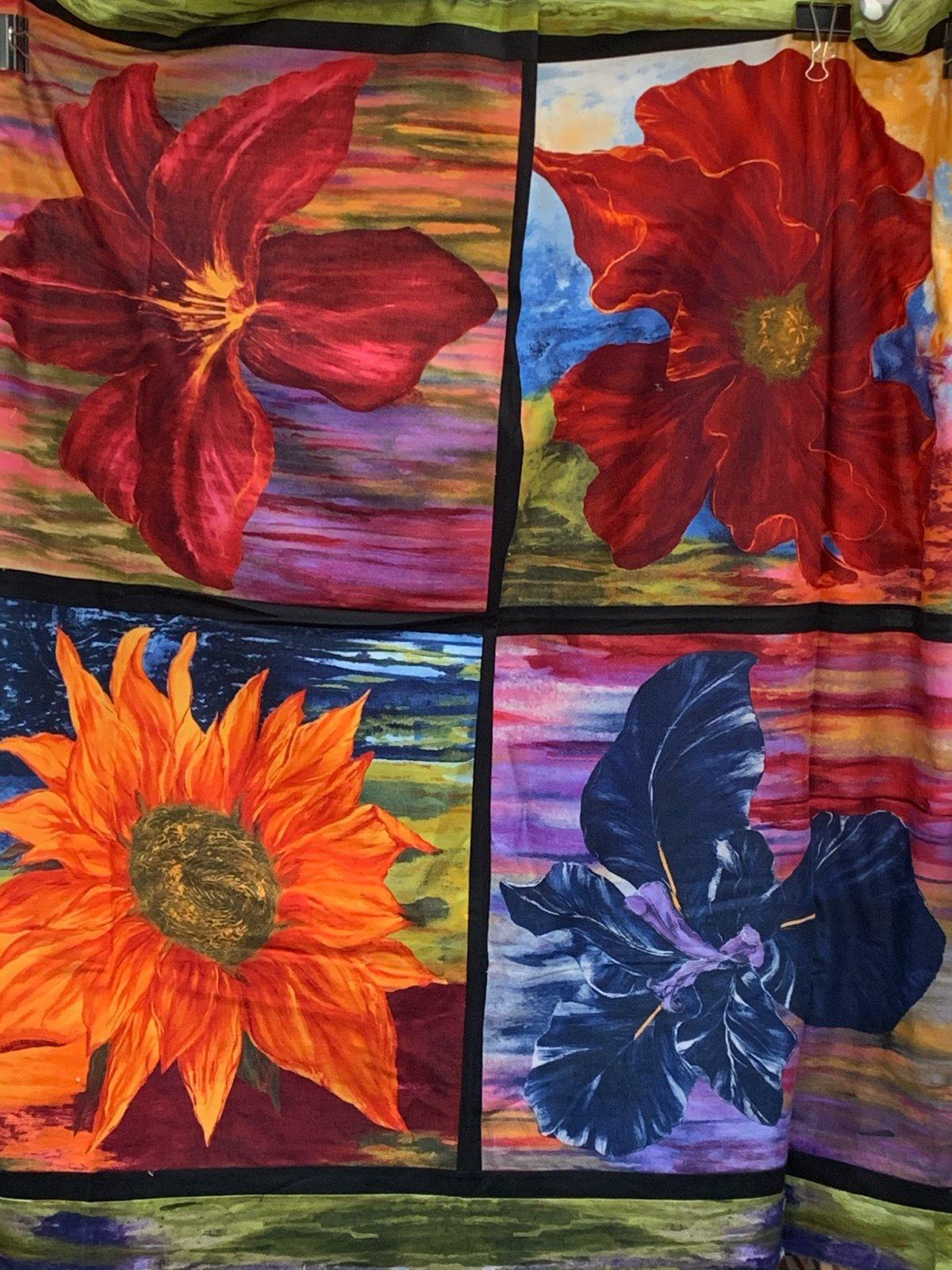 Frond Flowers Quilt Top Measures 52 x 52