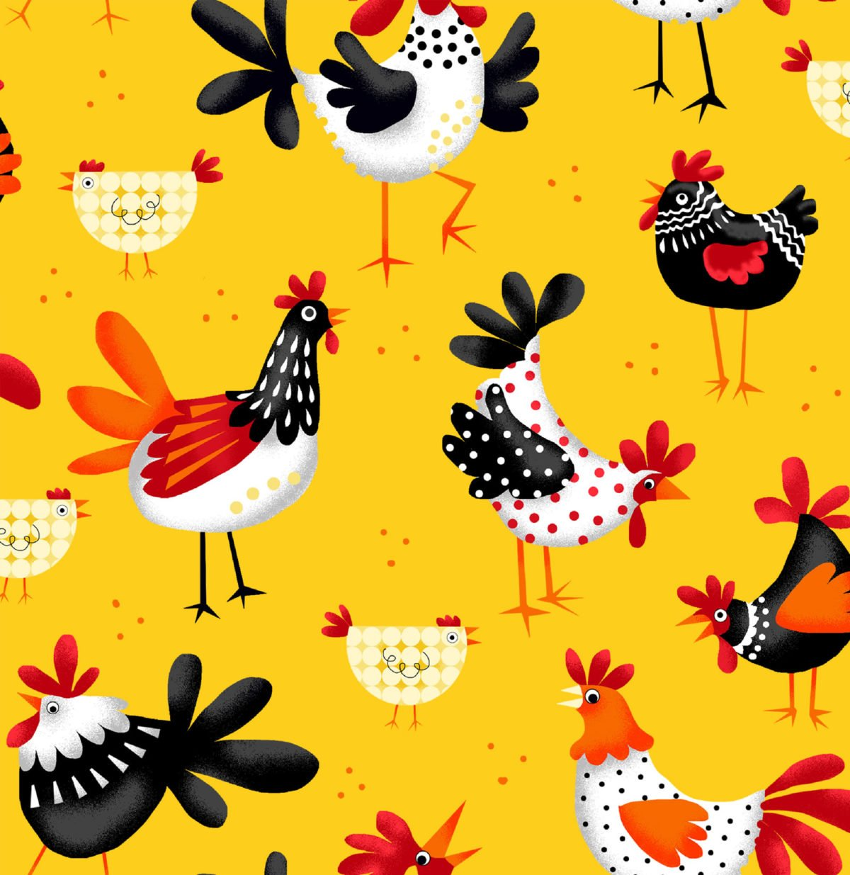 Fun Flannel Yellow Chickens