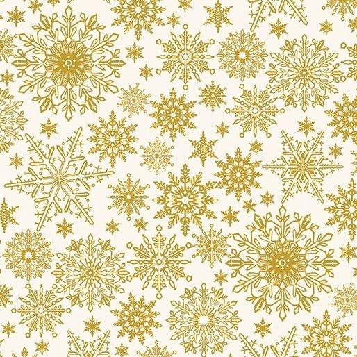 2650M-07 White w/ Gold Snowflakes