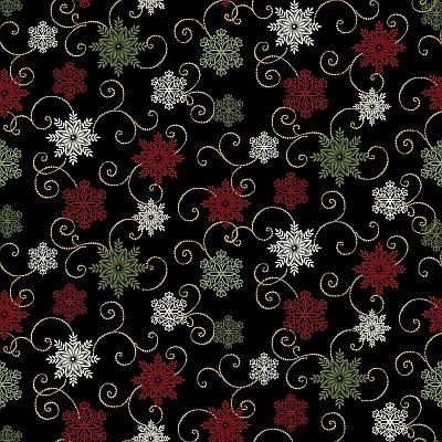 2655M-12 Black with Snowflakes