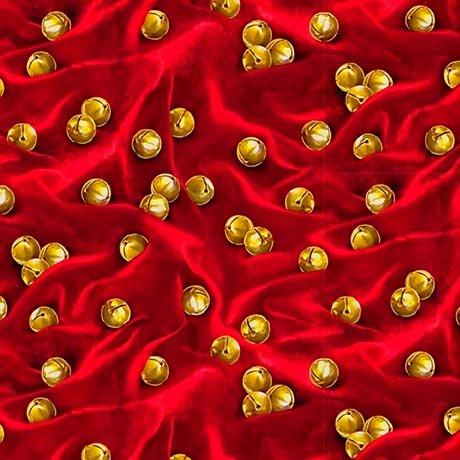 Santa's List Jingle Bells Fabric - Dark Red