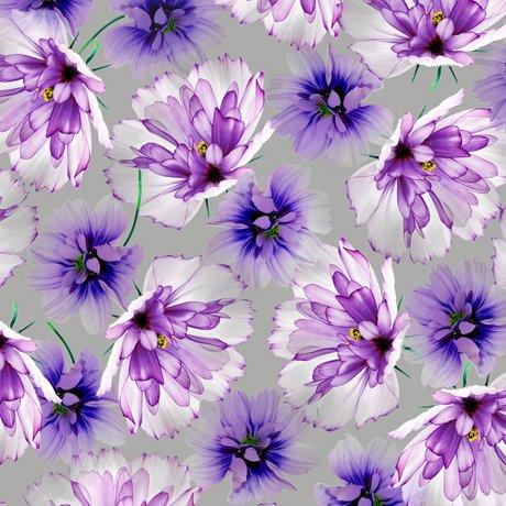 Emma 27356-K Tossed Flowers - Gray
