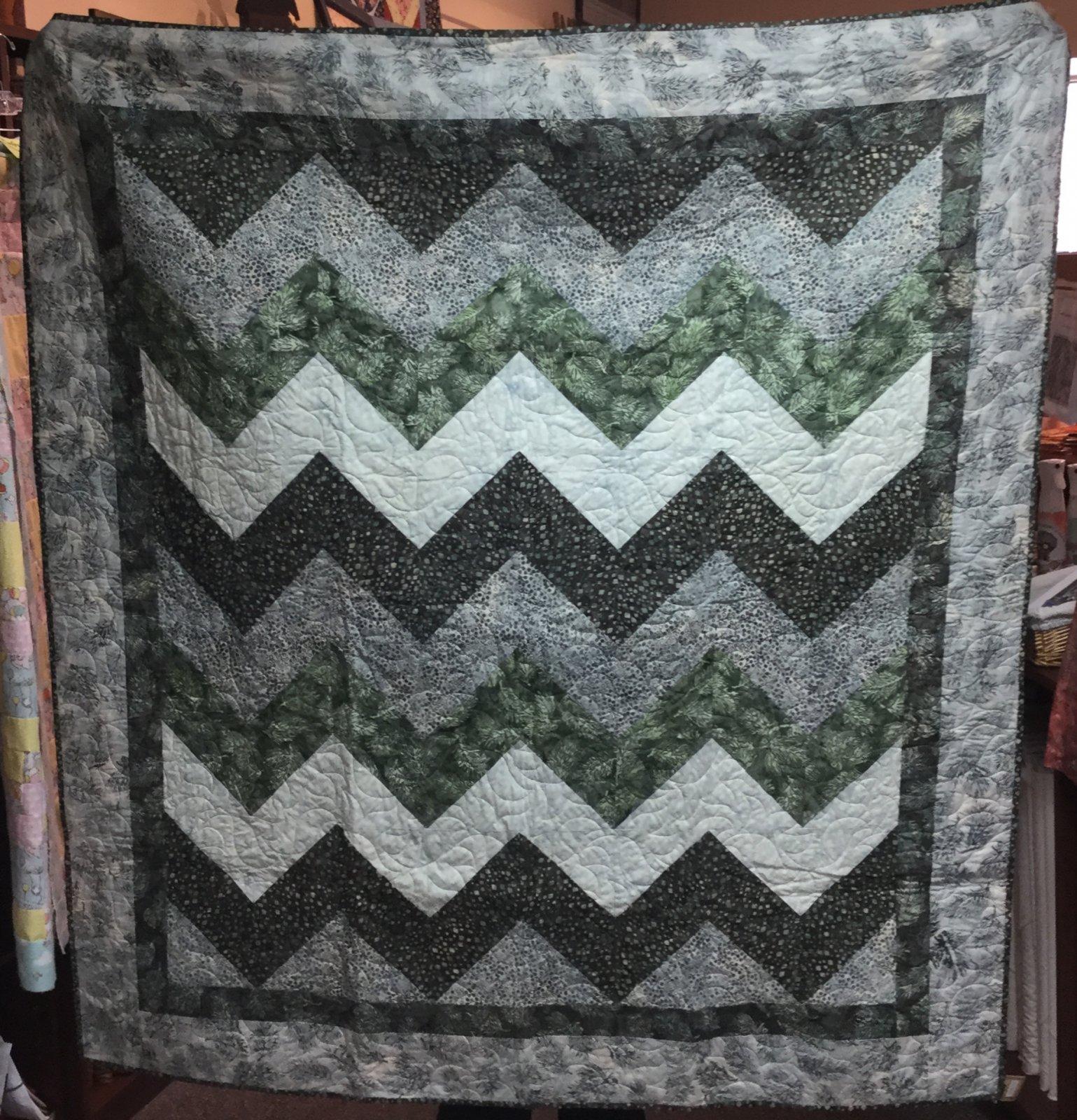 Green/Blue Batik Quilt (60 x 68)