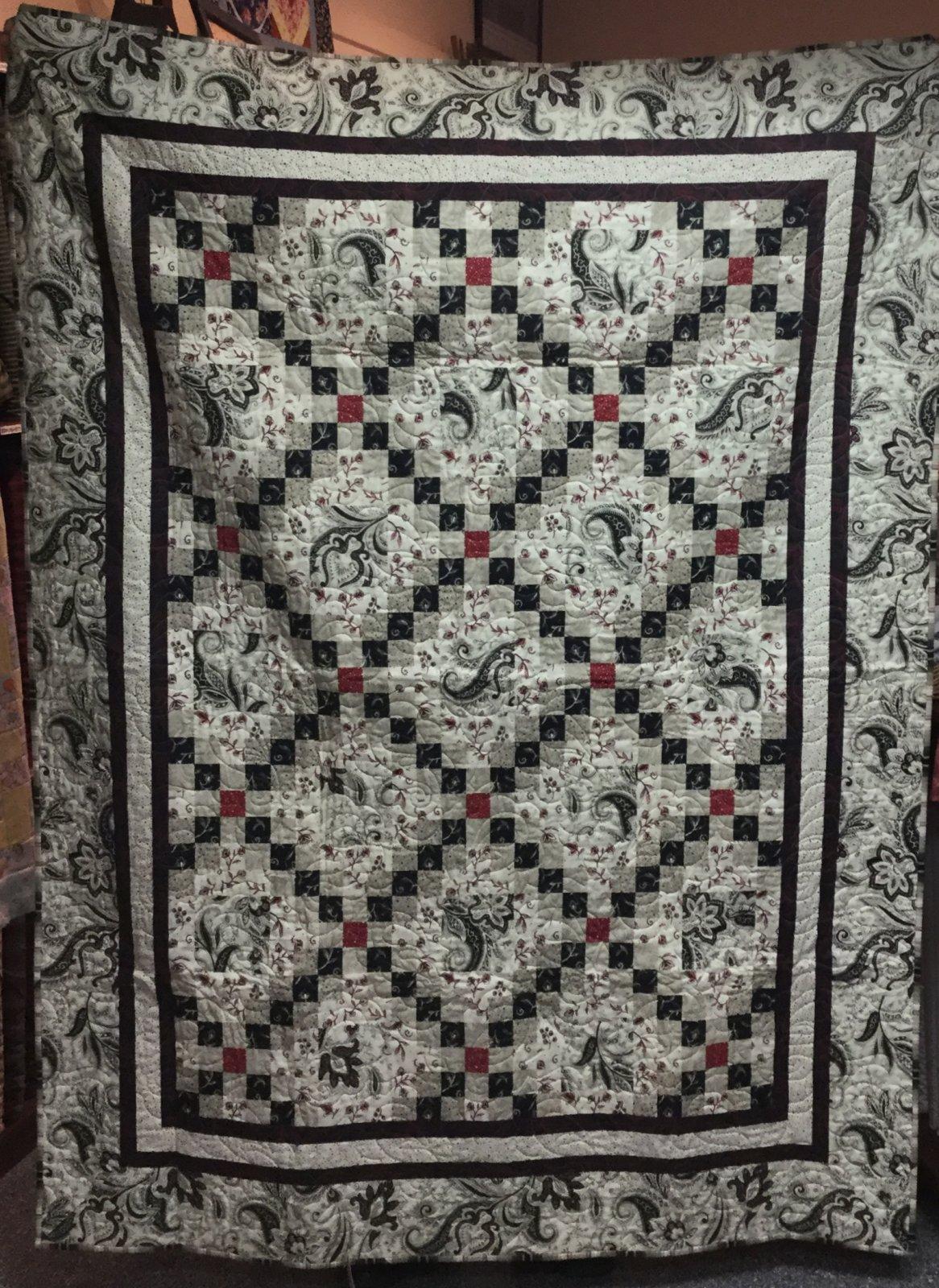 Red-Black-White Quilt (56 x 72)