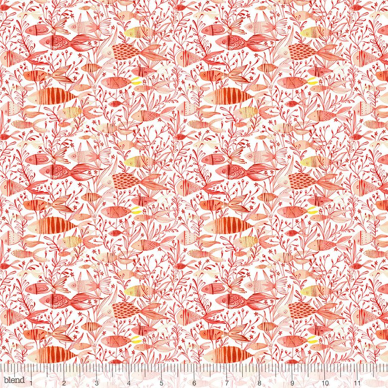 Cory Dantini by Blend Fabrics - Mermaid Days - Here Fishy - Coral. 112.115.07.2