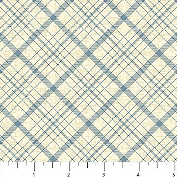 Northcott Vintage Travel Blue/Cream Plaid