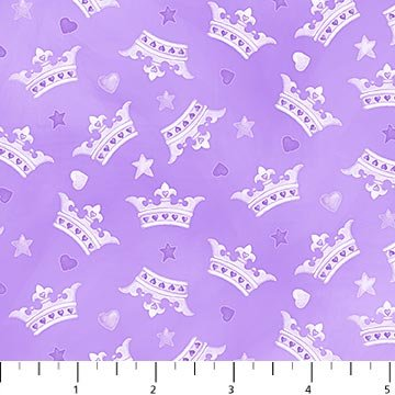 Northcott Little Princess Crowns on Purple