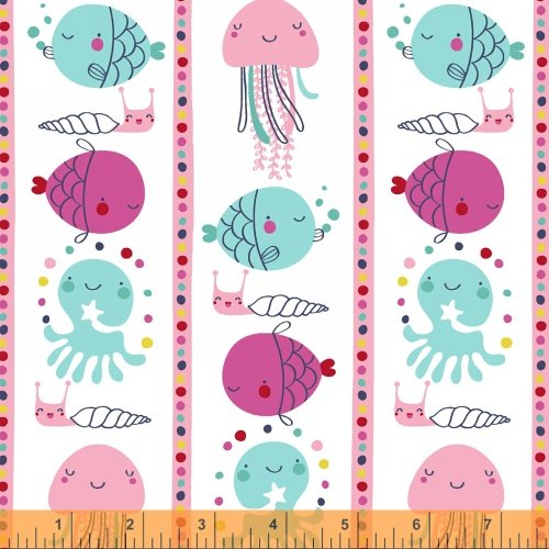 Windham Fabrics - Ahoy Matey: Multi Sea Life on White