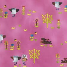 Robert Kaufman - Folkloric Blooms - Garden Owls & Hares