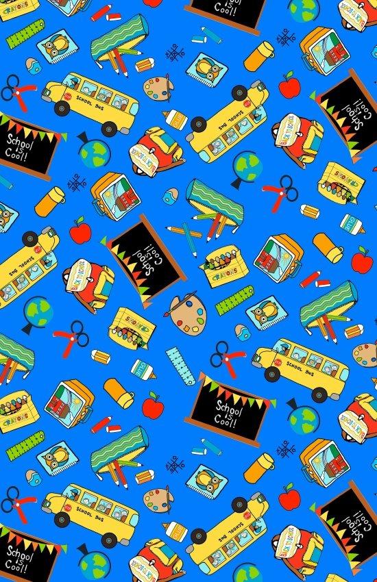 Blank Fabric School Rules - 8352 077 Blue