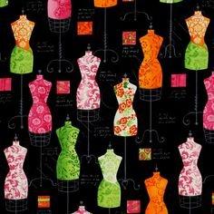 Robert Kaufman - Dress Up 2 - Sorbet Dress Forms on Black