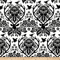 Free Spirit - Birch Farm - Antler Damask: Black