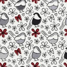 Timeless Treasures - Fin Birds white, black, red