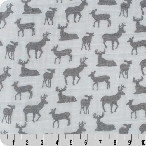 Shannon Fabrics Double Gauze - Embrace Deer to Me - Steel