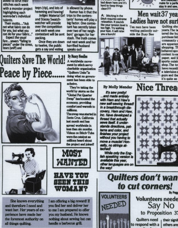 Timeless Treasures: White Newspaper Quilting