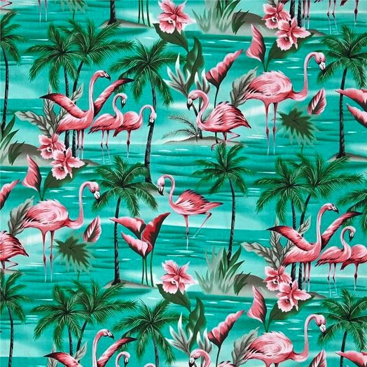 Hofman Fabrics Flamingos - Green BBHC-1023