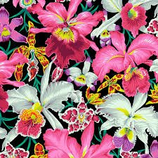 Free Spirit Kaffe Fassett Orchids color, Black and Multi