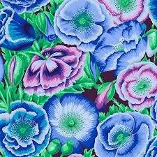 Free Spirit Kaffe Fassett Poppy Garden Blue