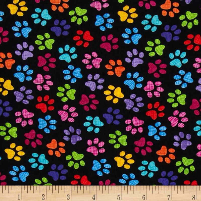 Timeless Treasures - Colored Pet Paws on Black
