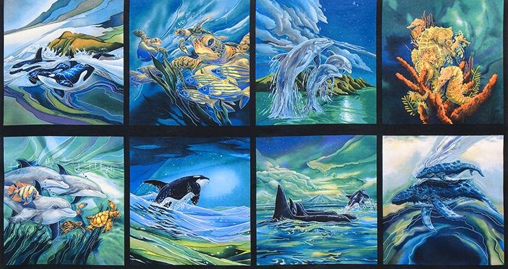 North American Wildlife 2- Panel in Ocean