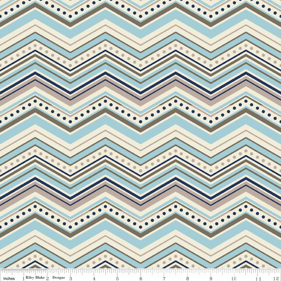 Riley Blake One for the Boys - Multi Chevron: Blue