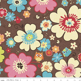 Riley Blake Happy Flappers - Floral on Brown