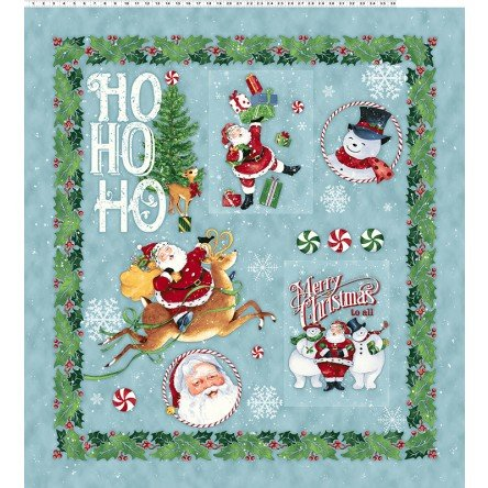 Clothworks Fabric Retro Santa - Panel Y2173-103 - Light Teal