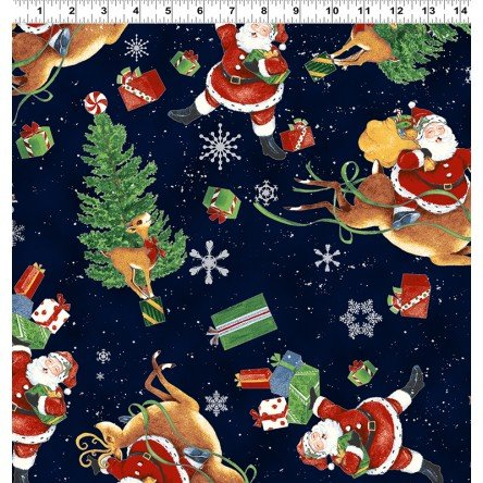 Clothworks Fabric - Retro Santa - Y2174-93 - Light Navy