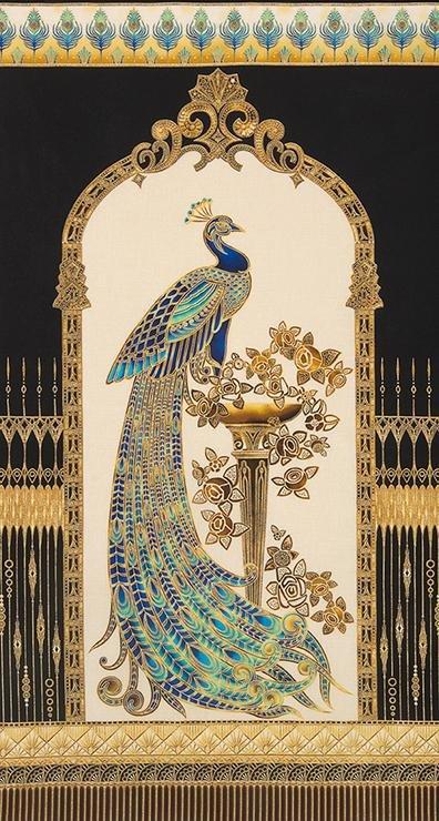 Robert Kaufman - Beau Monde - Peacock Metallic Panel