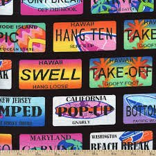 Benartex Kanvas Studios Surf's Up - Surf City Plates on Black