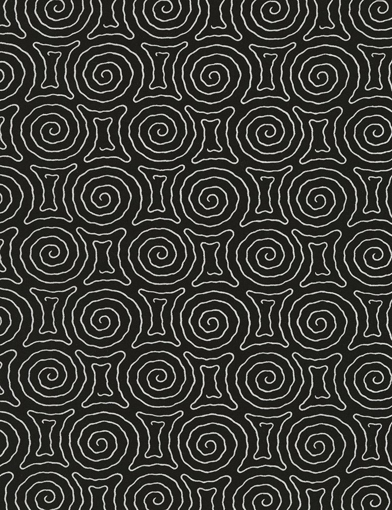 Timeless Treasures - Spiral Maze - Vanessa-C5657 - Black